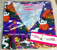 Halloween Print Scrub Top empire waist mock wrap Pumpkins, ghosts, scarceows