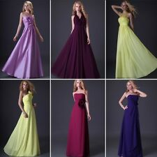 Bridesmaid Long Dress Formal Cocktail Evening Party Gown Strapless Strap Halter