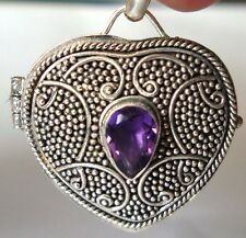 Sterling silver wish prayer box heart locket pendant garnet amethyst peridot