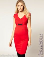 ASOS MATERNITY NEW SEXY WORKWEAR PARTY RUCHED DRESS W/BOW RED AU SZ 8 10 12