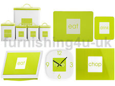 WHITE & LIME TEA COFFEE SUGAR BISCUIT BREAD CLOCK CHOPPING BOARD CLOCK PLACEMATS
