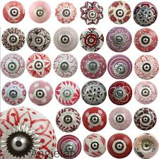 MIX & MATCH Retro Vintage Shabby Chic Ceramic Door Knobs Drawer Red and White