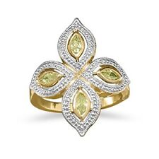 14 Karat Gold Plated Brass Ring with Lime CZs