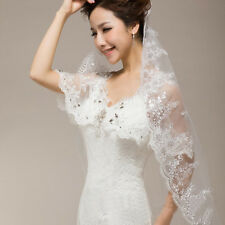 1 Layer Wedding Bridal Veil Lace Applique Beaded Edge Embroidery Noble Cathedral