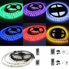 New 5M 5050 SMD RGB Flexible 300 LED Light Strip 60 Led/M & Remote& Power Supply