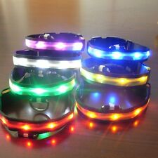 Pets Dog LED Lights Flash Nylon Collar Night Safety Waterproof Adjustable S-XL