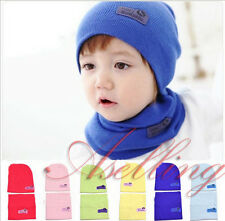 2PCS Boy Baby Kid Winter Warm Hats Beret Beanie Cap +Scarf Neckerchief Sets Gift