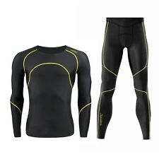New Mens Winter Lycra Comfortable Warm Outdoor Sports Underwear Suit Size S-2XL
