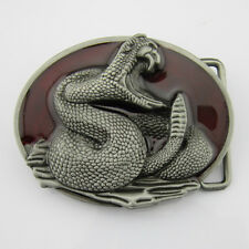Western Cowboy New Red Silver 3D Vintage Mens Metal Belt buckle Leather Costume