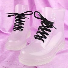 Lady Girls PVC Transparent Crystal Clear Flat Water Shoes Martin Rain Boots HOT