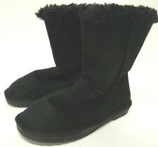 Dooballo Women's 'Coffee' Black Faux Suede Low Heeled Faux Fur Lined Boots