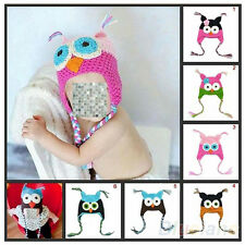 Cute Baby Infant Toddler Knit Crochet Hat Owl Cartoon Style Cap+Ear Flap BK2U