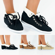 NEW WOMENS LADIES GIRLS HI HIGH TOP TRAINERS ANKLE BOOTS FUR FLAT SHOES SIZE 3-8