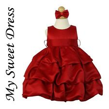 Red Satin Baby Infant Flower Girl Dress 6M 12M 18M 24M - Holiday Christmas Party