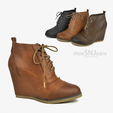 Women High Wedge Heel Booties Lace Up Pull Tab Perforated Western Boots Shoes