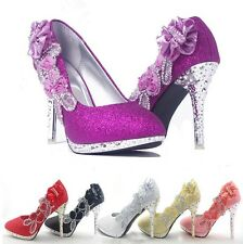 Sparkly Wedding Bridal Evening Party Crystal High Heels Women Ladies Shoes