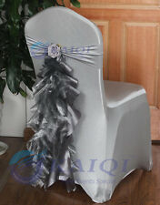 hot sale 10pcs silver chair sashes organza taffeta with tie, no surging, for wed
