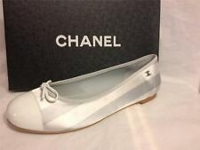 CHANEL Blue Striped Satin Patent Cap Toe Bow Ballerina Ballet Flat Shoes $625