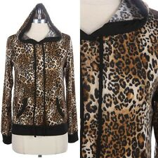 Full Leopard Print Long Sleeve Pull Over Hoodie Sweater Top Casual Comfy S M L