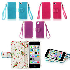 IZENGATE Floral Wallet Flip Case PU Leather Cover Folio for Apple iPhone 5C