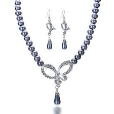 Bow Tie Gift Bridal Bridesmaid Necklace Earring Set Imitate Pearl Crystal