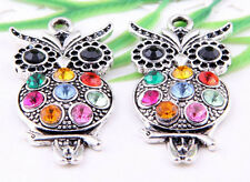 Wholesale 3/8Pcs Tibetan Silver(Lead-Free)Owl Charms Pendants 48x24mm