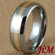 Tungsten Carbide Ring 14K Gold Inlay Mens Wedding Band Bridal Jewelry Size 6-15