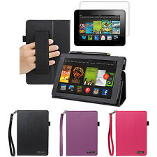 """Leather Folding Stand Case w/ Handstrap+LCD Guard For 2013 New Kindle Fire HD 7"""""""