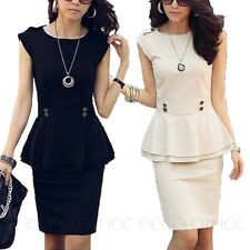 Career Designer Dresses Womens Peplum Skirts Ladies Sleeveless Top Skirt Suit