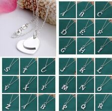 Wholesale New 925Silver Necklace Letter A to Z Crystal Silver (Pendant + Chain)