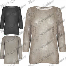 Womens Fish Net Baggy Long Oversized Ladies Pullover Knitted Sweater Jumper Top