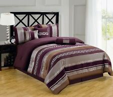 7pc Purple/Chocolate/Gray Pintuck Striped Comforter Set Full Queen King Cal King