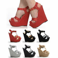 THICK STRAP HIGH HEEL WEDGES PLATFORMS COLOURS SHOES CLUB PARTY EVENT STUNNING