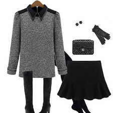 Women Celebrity Style Long Sleeve Slim Fitted Blouse Knit Tops Button Down Shirt