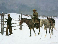 Western Prints on Canvas Horses The Fall of the Cowboy Frederic Remington Repro