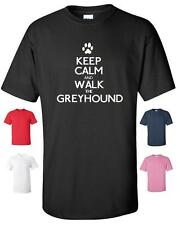 KEEP CALM AND WALK THE GREYHOUND FUNNY T-SHIRT MENS WOMENS CHILDRENS SIZES DOGS