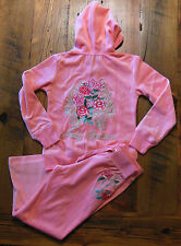NWT JUICY COUTURE outfit BLING ROSES ROYALTY 4 6 8 pink PANT JACKET HOODIE