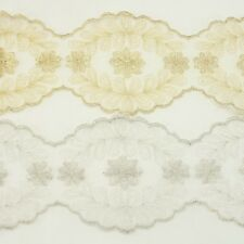 Metallic Venise Trim Lace #244- Embroidered Trim Bridal Wedding Card Decoration