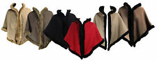 NEW ITALIAN FAUX FUR TRIMMED HOODED CAPE SHAWL CARDIGAN PONCHO SIZE 8-14
