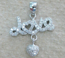 """NEW - 925 STERLING SILVER MICRO SETTING CZ """"LOVE"""" with HEART DANGLING PENDANT"""