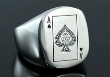 Poker Card Ace of Spade Stainless Steel Ring R137