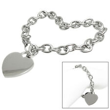 Beautiful Stainless Steel Heart Tag Link Personalized Bracelet (Free Engraving)