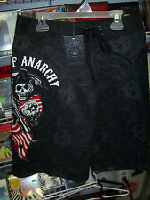 SONS OF ANARCHY REAPER FLAG ANARCHY CHAINS GUNS LACED BOARD SHORTS NEW !