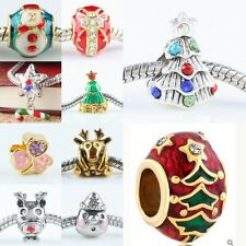 Wholesale Crystal Enamel Christmas Xmas Big Hole Loose Beads Fit Charms Bracelet