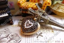 Fashion Bronze Color Crystal Pearl Heart Love Hollow Out Locket Pendant Necklace