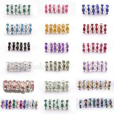 Wholesale 100pcs 6/8MM Crystal Rhinestone Silver Plated Rondelle Spacer Beads