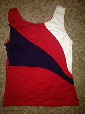 Motionwear Red Navy White Dance CHEER Cheerleading Uniform Top Adult M L & XL