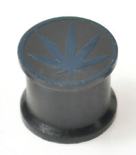 BLACK DOUBLE FLARED CANNABIS WEED LEAF SILICONE EAR PLUGS TUNNELS STRETCHERS