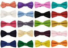 NEW GOOD QUALITY PRE TIED CHILDRENS BOYS BOW TIES. 35 DIFFERENT COLOURS