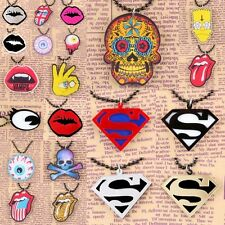 Punk Rock Gothic Pendant Chain Choker Necklace Superman Rolling Stone Skull Lips